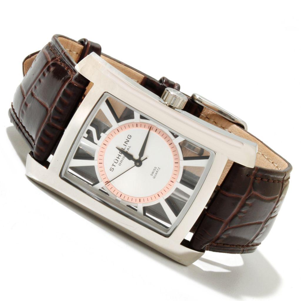 625-186 - Stührling Original Rectangular Gatsby Quartz Stainless Steel Leather Strap Watch