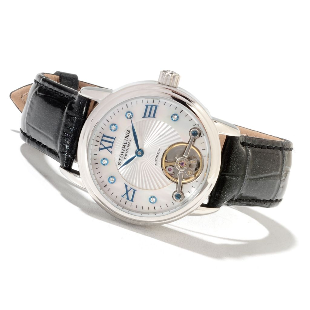 625-189 - Stührling Original Women's Automatic Leather Strap Watch Made w/ Swarovski;® Elements