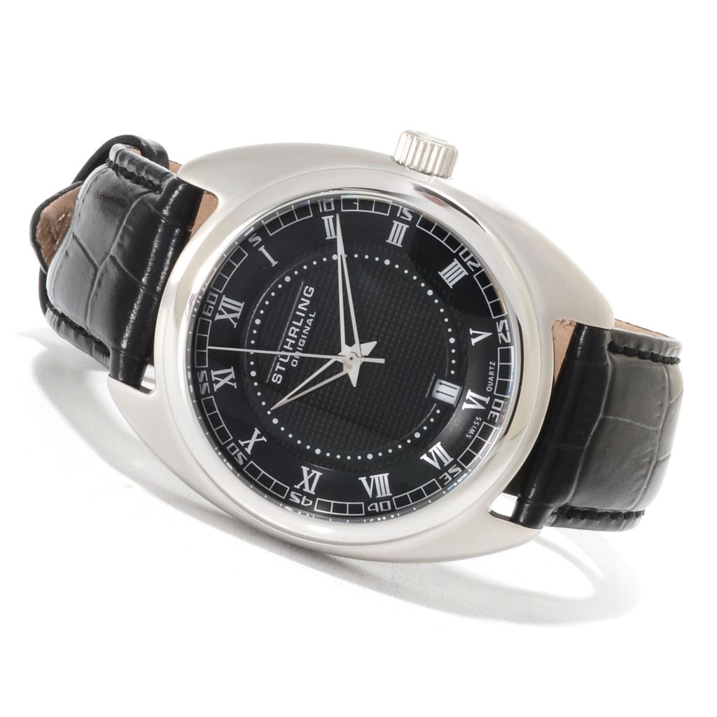 625-191 - Stührling Original Men's Twenty Quartz Stainless Steel Leather Strap Watch