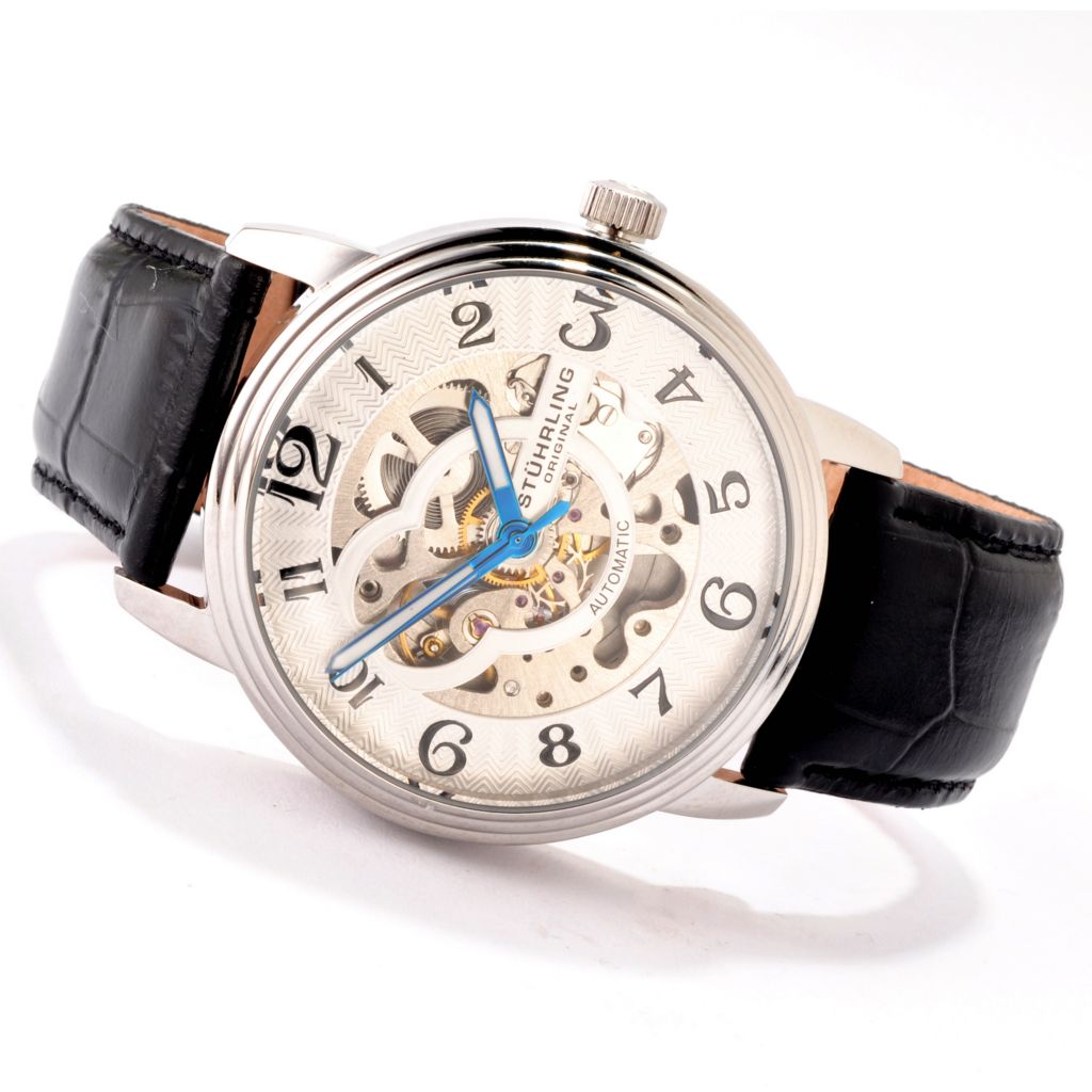 625-193 - Stührling Original 44mm Delphi Automatic Skeleton Stainless Steel Case Leather Strap Watch