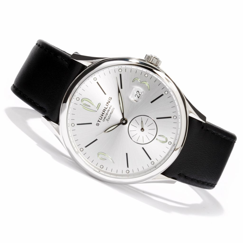 625-196 - Stührling Original 44mm Cuvette Infinity Automatic Leather Strap Watch