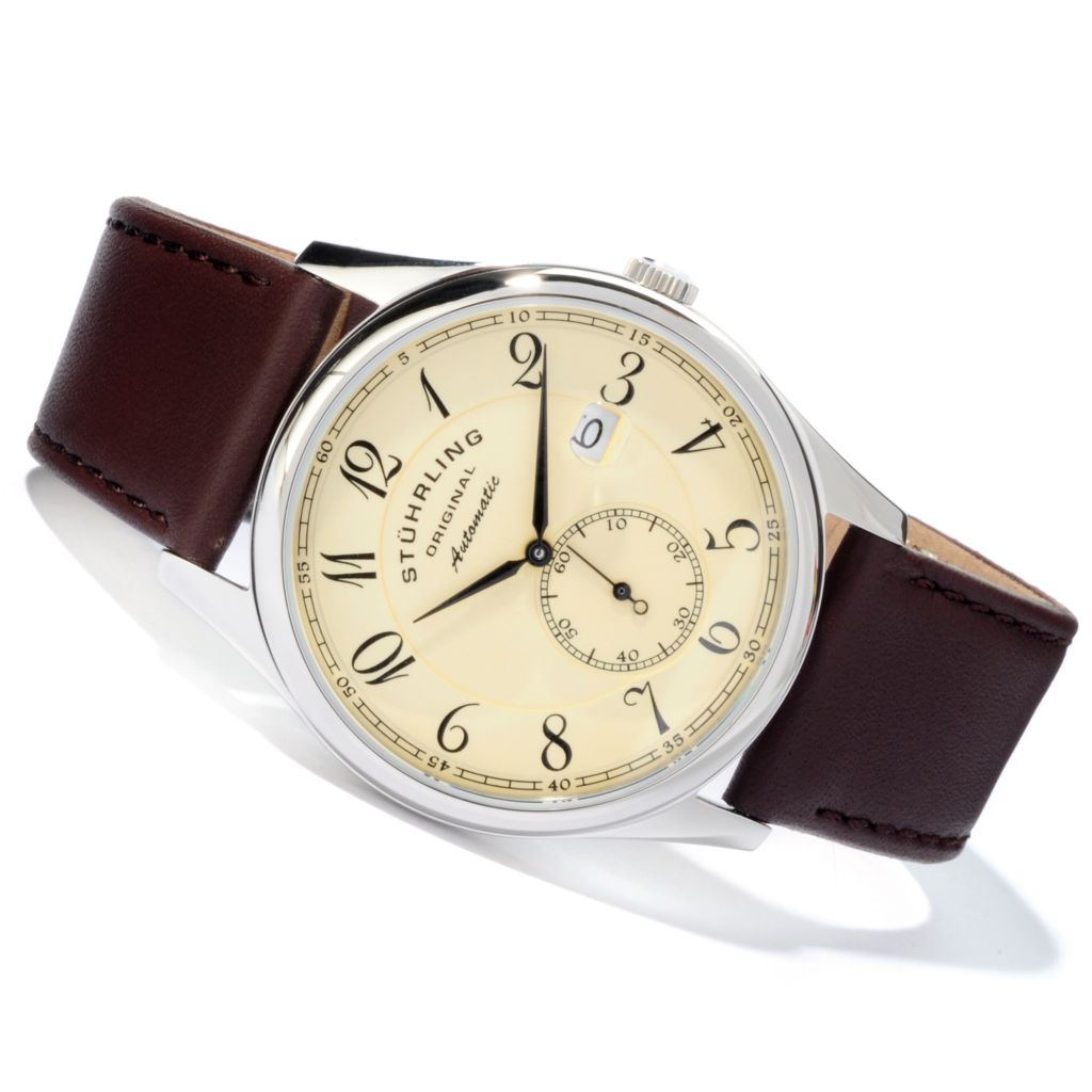 625-197 - Stuhrling Original 44mm Cuvette Classic Automatic Leather Strap Watch