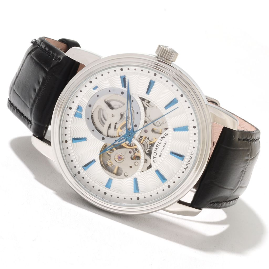625-201 - Stührling Original Men's Delphi Acheron Automatic Skeletonized Leather Strap Watch
