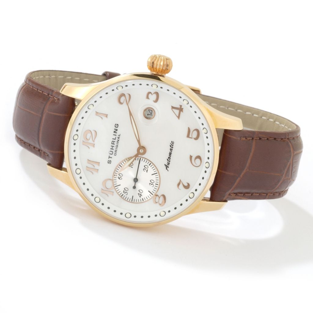 625-203 - Stührling Original 42mm Automatic Leather Strap Watch