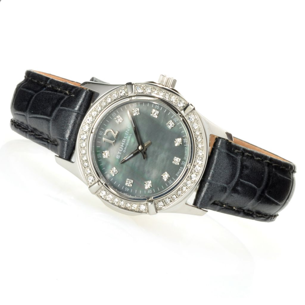 625-205 - Stührling Original Women's Quartz Leather Strap Watch Made w/ Swarovski® Elements
