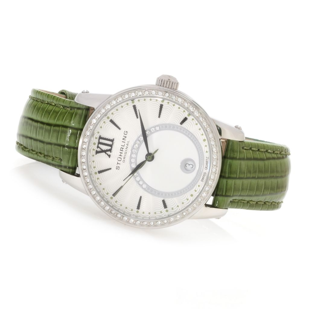 625-206 - Stührling Original Women's Audrey Quartz Leather Strap Watch Made w/ Swarovski® Elements