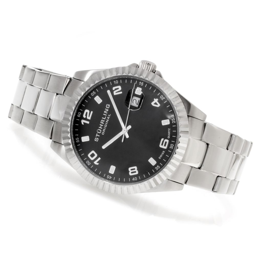 625-207 - Stührling Original 42mm Symphony Regency Quartz Stainless Steel Bracelet Watch