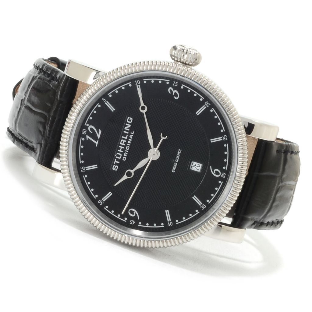 625-208 - Stührling Original Men's Parliament Quartz Stainless Steel Leather Strap Watch