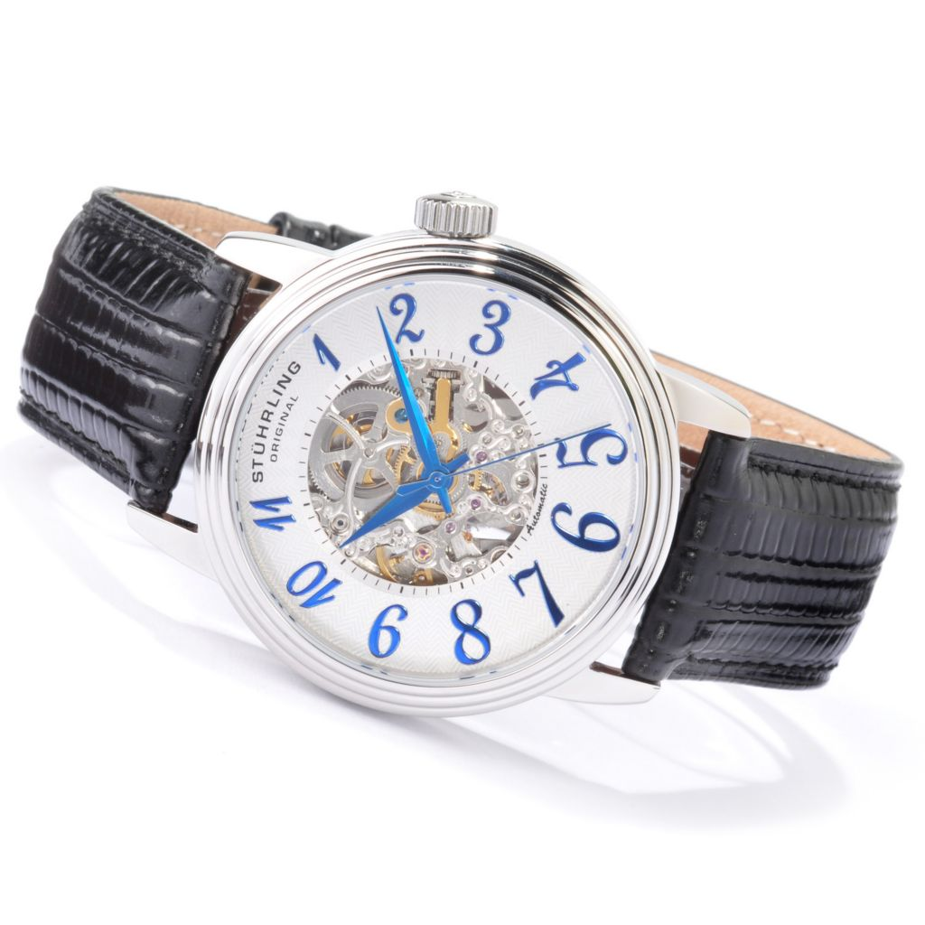 625-209 - Stührling Original 44mm Apollo Skeleton Automatic Genuine Leather Strap Watch