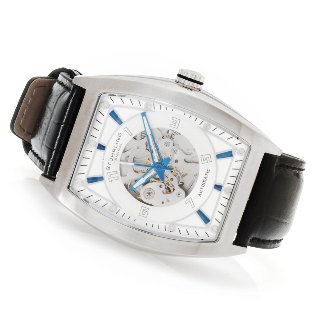 625-213 - Stührling Original Men's Millennia Automatic Skeleton Leather Strap Watch