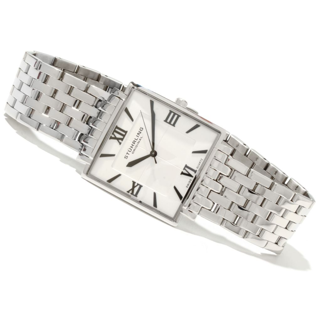 625-216 - Stührling Original 33mm or 27mm Saratoga Elite Quartz Stainless Steel Bracelet Watch