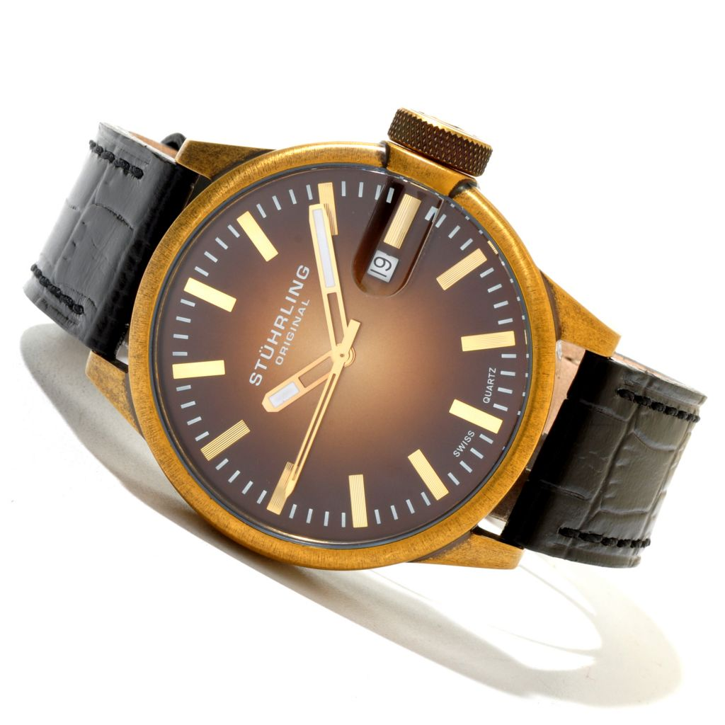 625-217 - Stührling Original 45mm Concorso Classic Quartz Leather Strap Watch