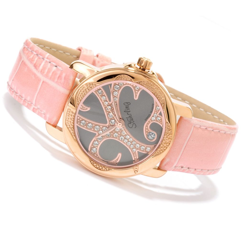 625-220 - Stührling Original Women's Isis Strap Watch Made w/ Swarovski® Elements