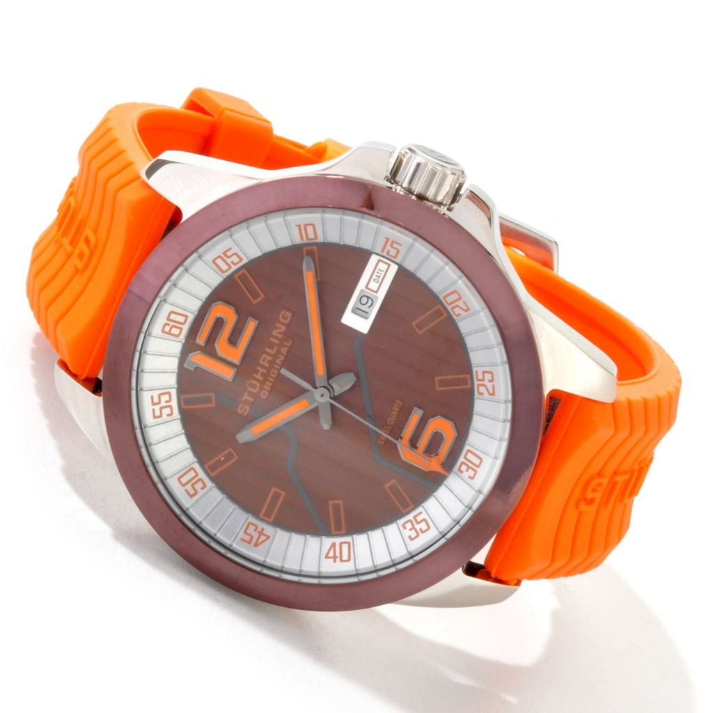 625-221 - Stührling Original 46mm Concorso D'Italiano Quartz Rubber Strap Watch