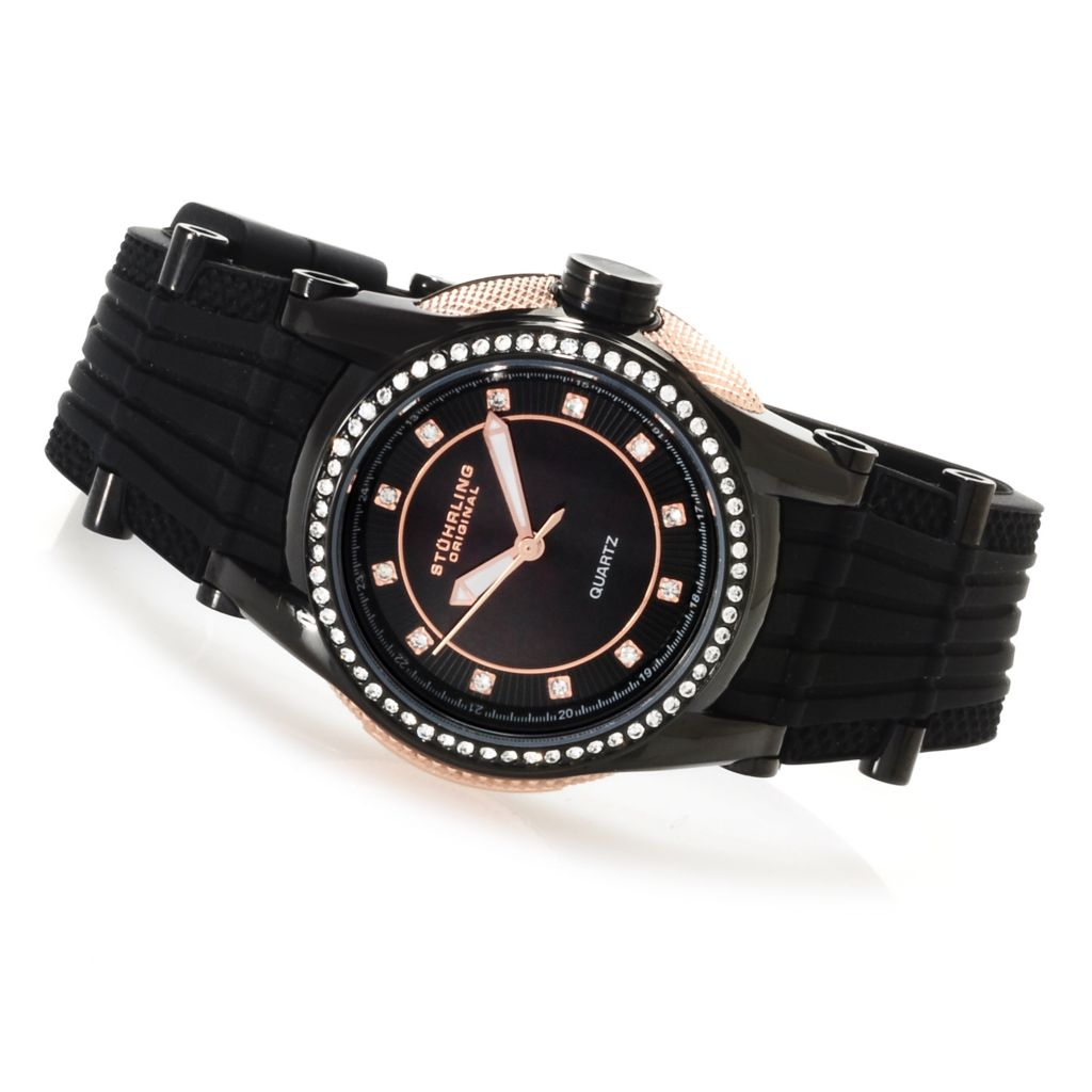 625-222 - Stührling Original Women's Illusion Vogue Quartz Strap Watch Made w/ Swarovski® Elements