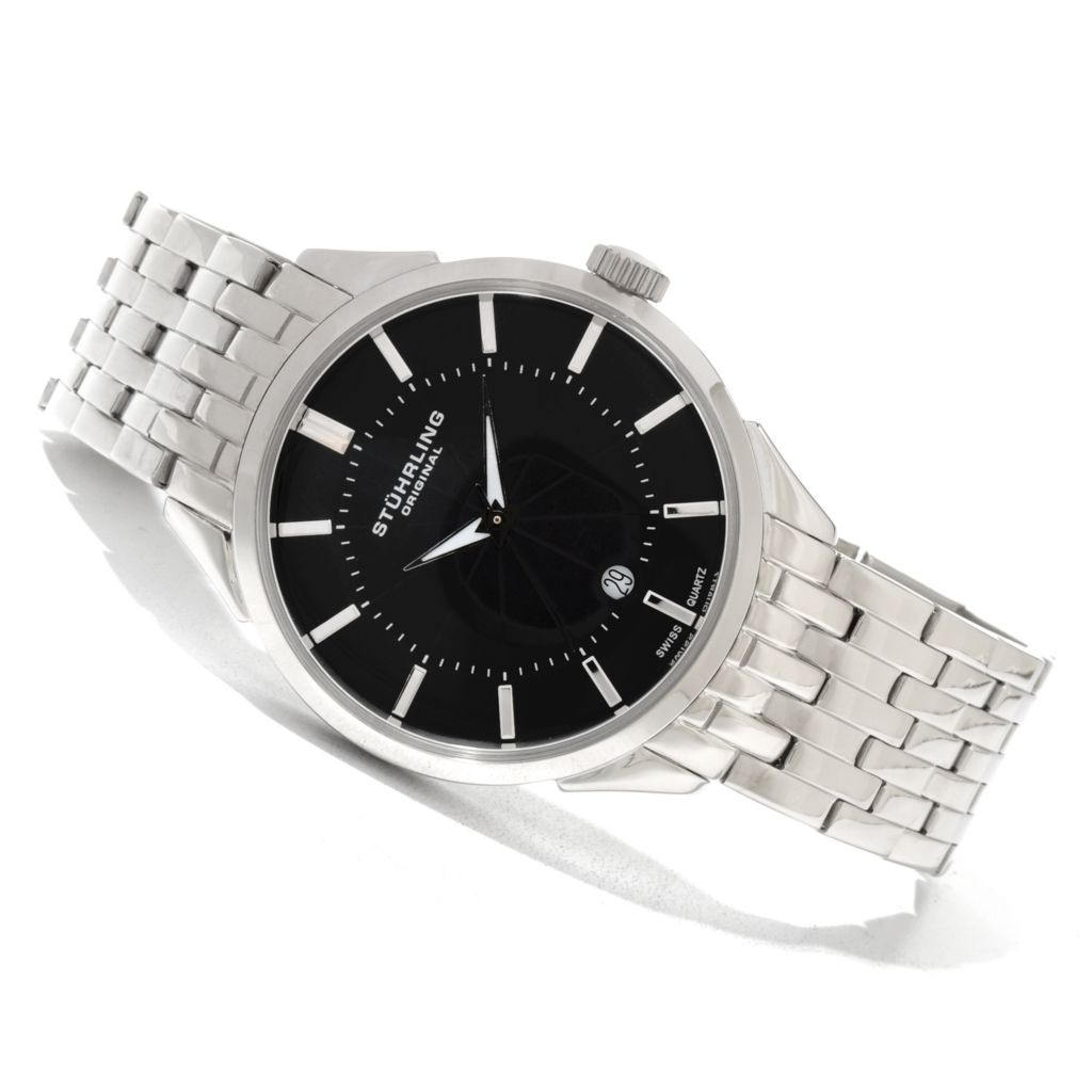 625-225 - Stührling Original Men's Arlington Quartz Stainless Steel Bracelet Watch
