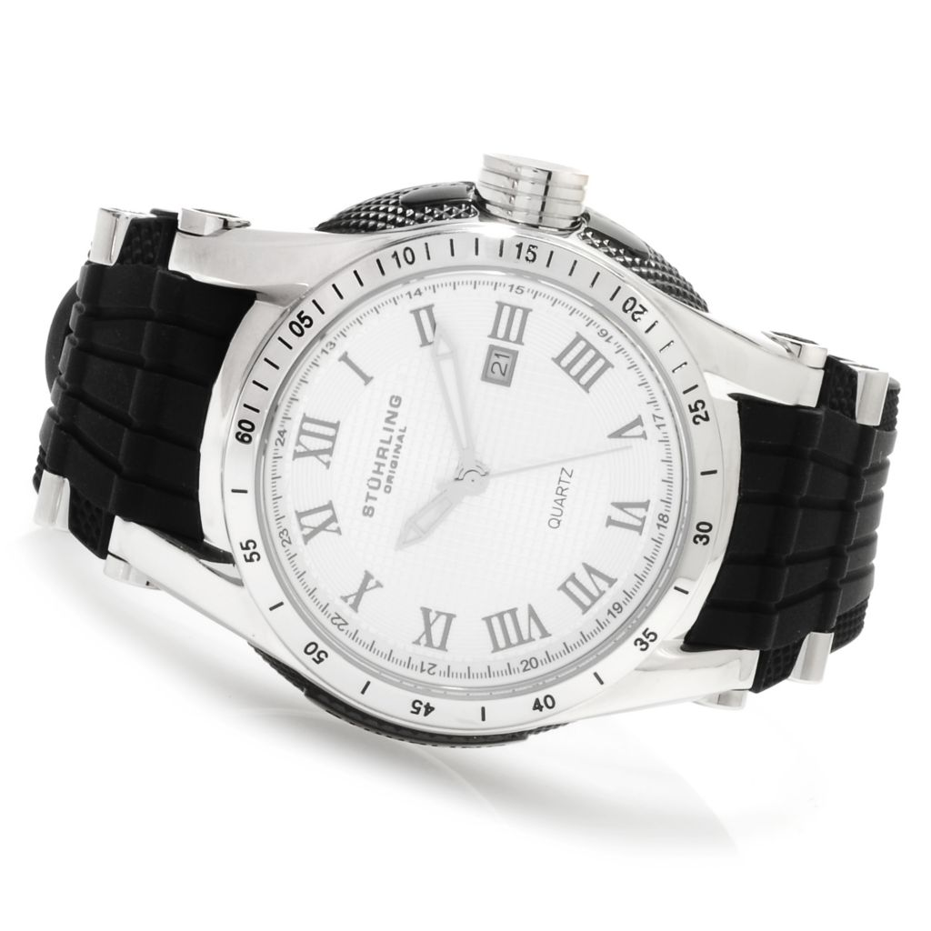 625-227 - Stührling Original 46mm Victory Quartz Rubber Strap Watch