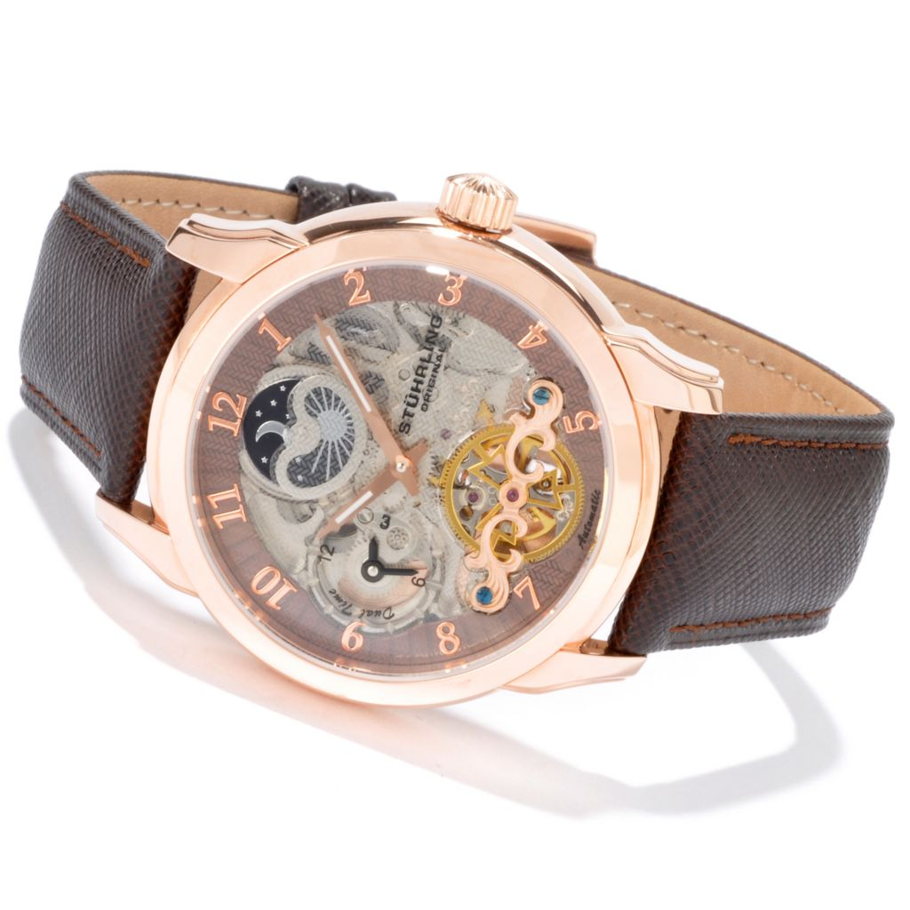 625-228 - Stührling Original 44mm Tempest Double Barrel Automatic Leather Strap Watch