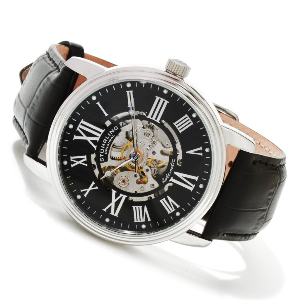 625-231 - Stührling Original Men's Delphi Venezia Automatic Stainless Steel Leather Strap Watch
