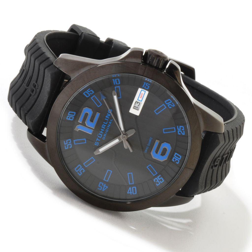 625-236 - Stührling Original 46mm Concorso D'Italiano Quartz Stainless Steel Rubber Strap Watch