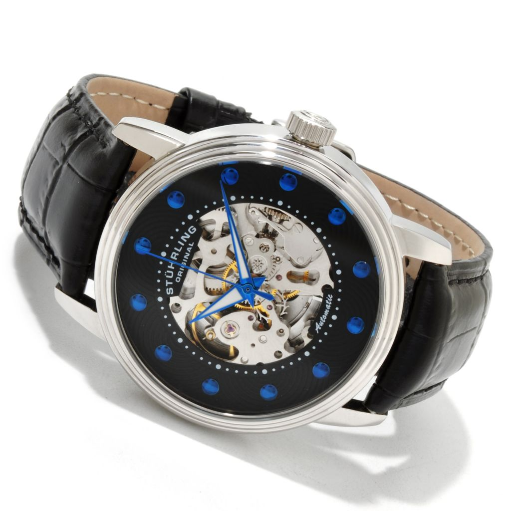 625-237 - Stührling Original Men's Delphi Archer Skeleton Automatic Leather Strap Watch