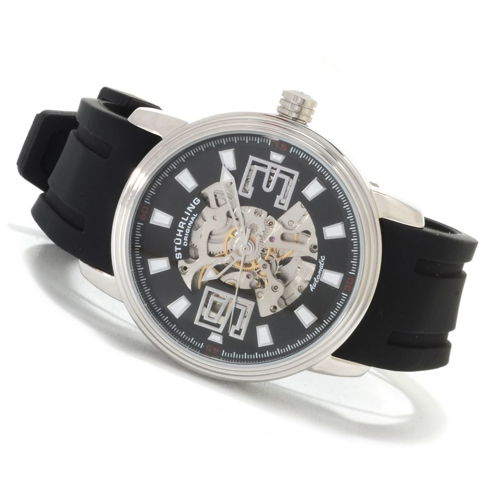 625-241 - Stührling Men's Delphi Huntsman Skeleton Automatic Rubber Strap Watch