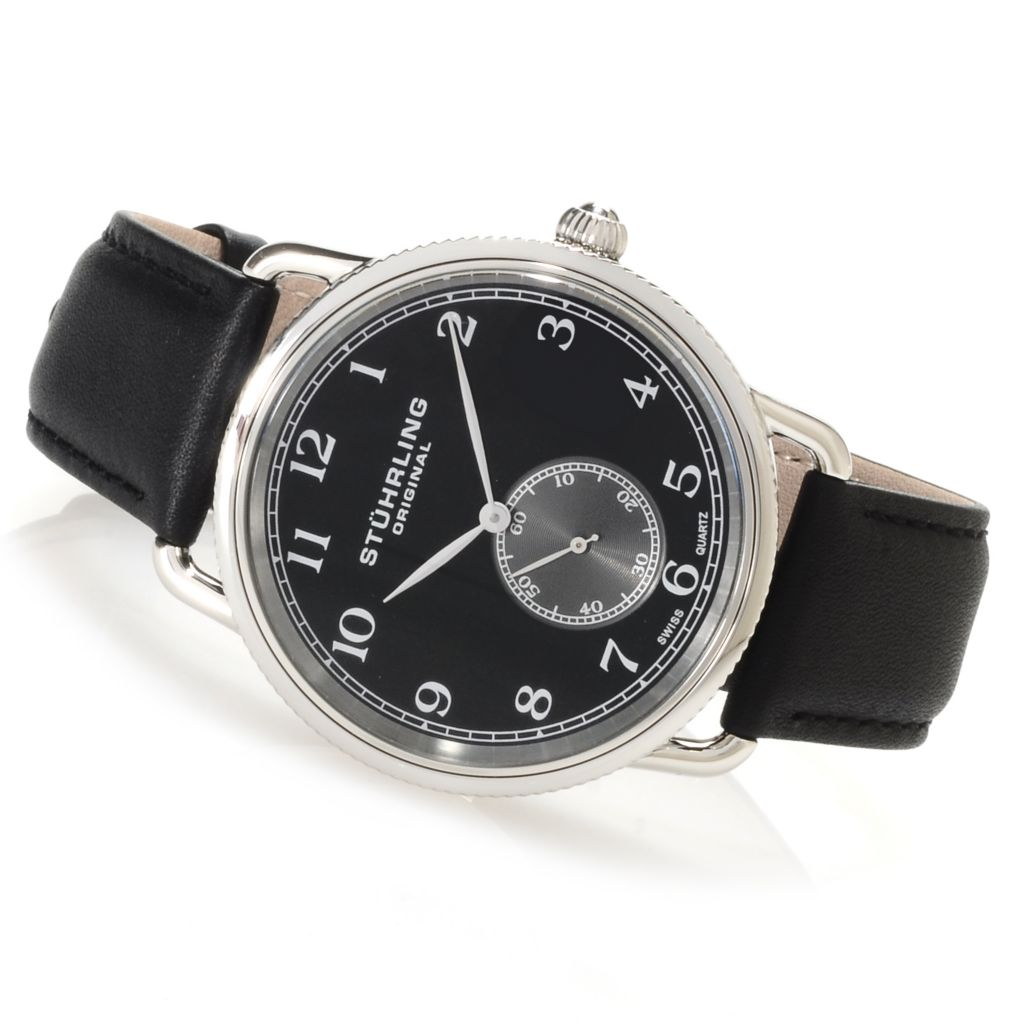 625-242 - Stührling Original Men's Decor Quartz Stainless Steel Leather Strap Watch