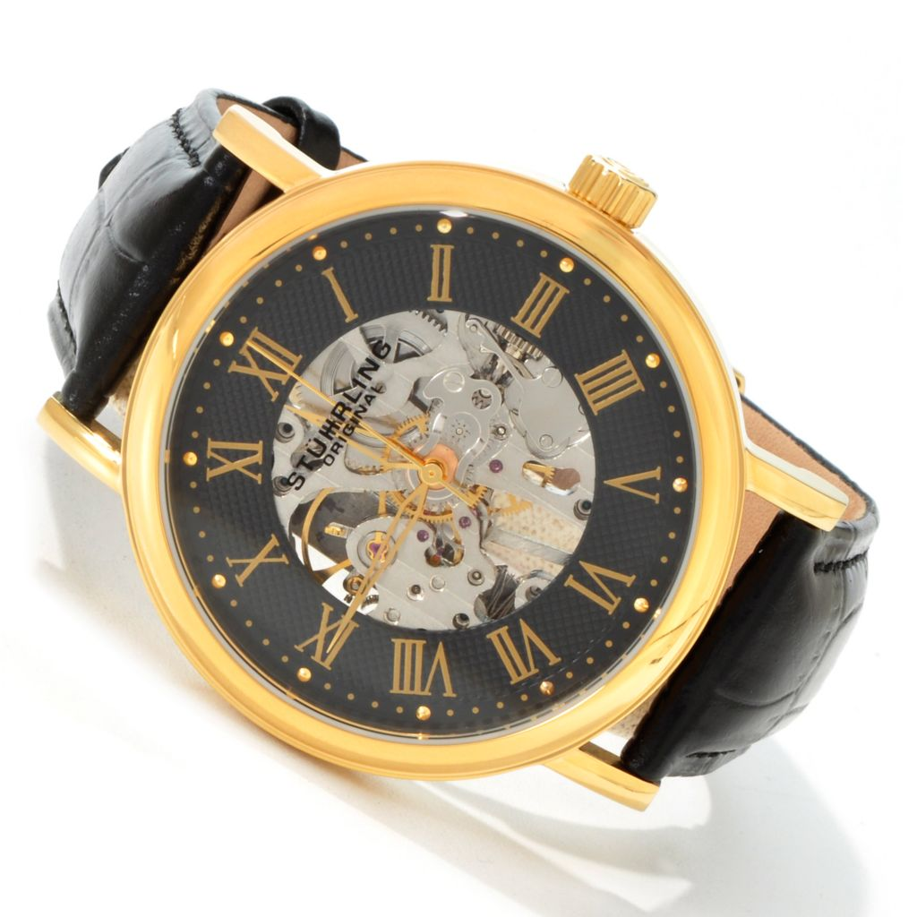 625-244 - Stührling Original 44mm Montague Mechanical Leather Strap Watch