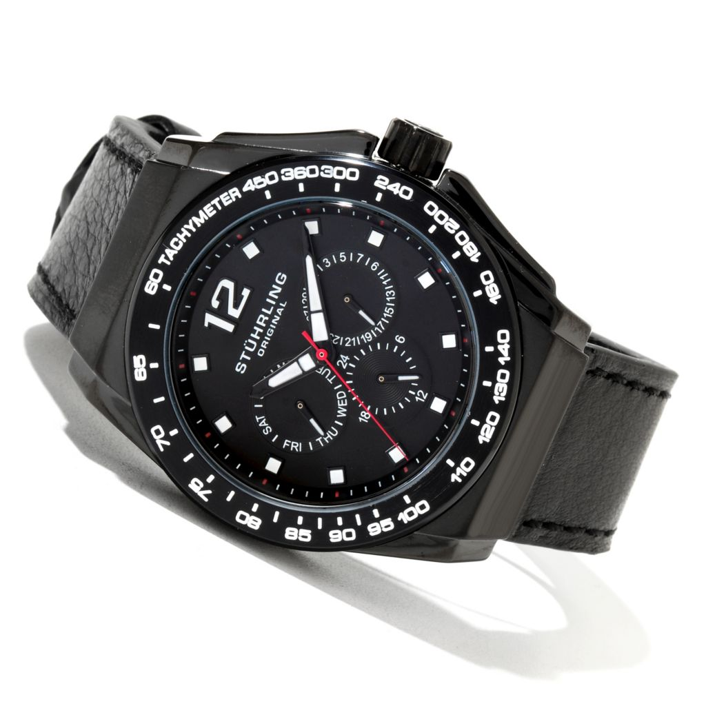 625-245 - Stührling Original 47mm Concorso Quartz Multifunction Leather Strap Watch