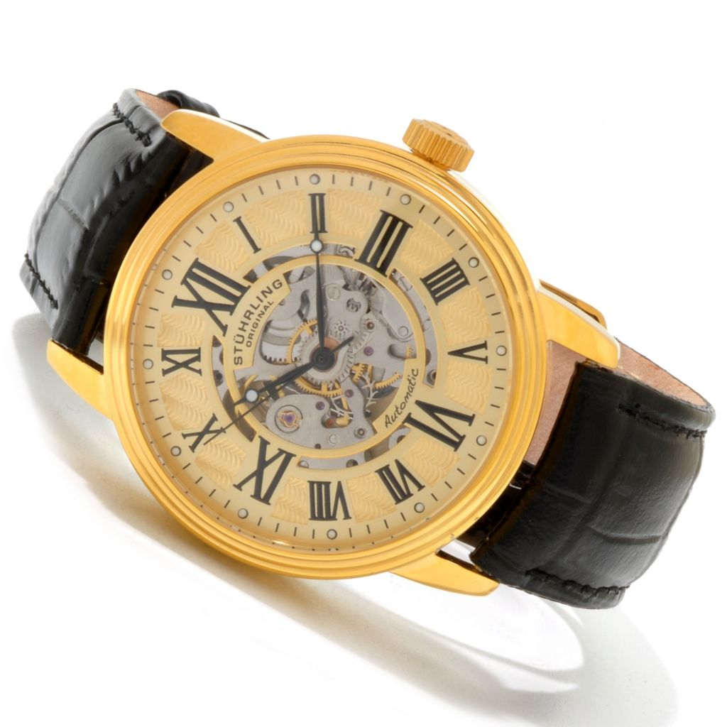625-246 - Stuhrling Original 44mm Delphi Venezia Automatic Skeletonized Dial Strap Watch