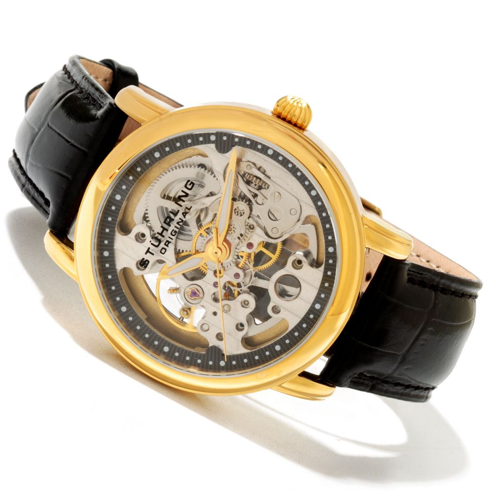 625-247 - Stührling Original 40mm or 34mm Delphi Mechanical Skeletonized Dial Leather Strap Watch