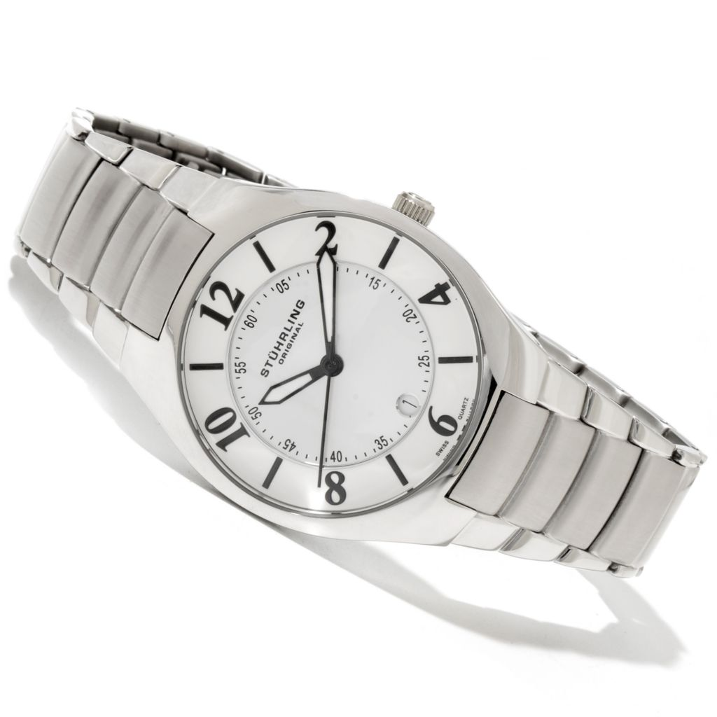 625-249 - Stührling Original Men's Regalia Quartz Stainless Steel Bracelet Watch