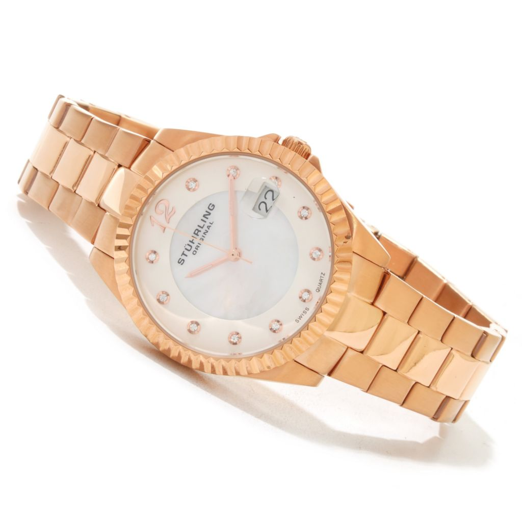 625-253 - Stührling Original Women's Lady Clipper Pearl Quartz Stainless Steel Bracelet Watch