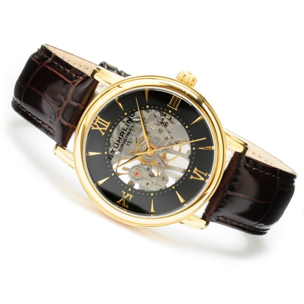 625-256 - Stührling Original Men's Chamberlain Mechanical Skeletonized Stainless Steel Strap Watch