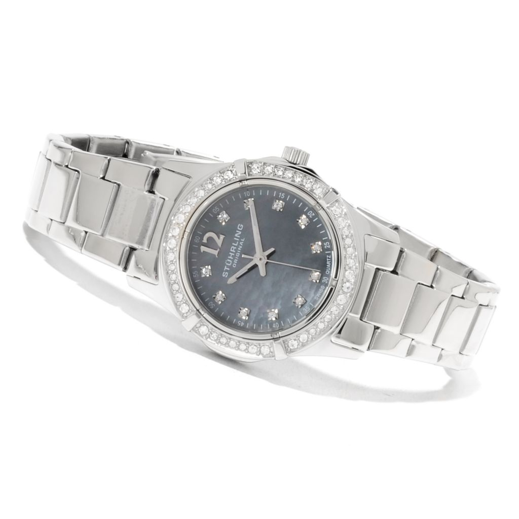 625-257 - Stührling Original Women's Glimmer Quartz Bracelet Watch Made w/ Swarovski® Elements