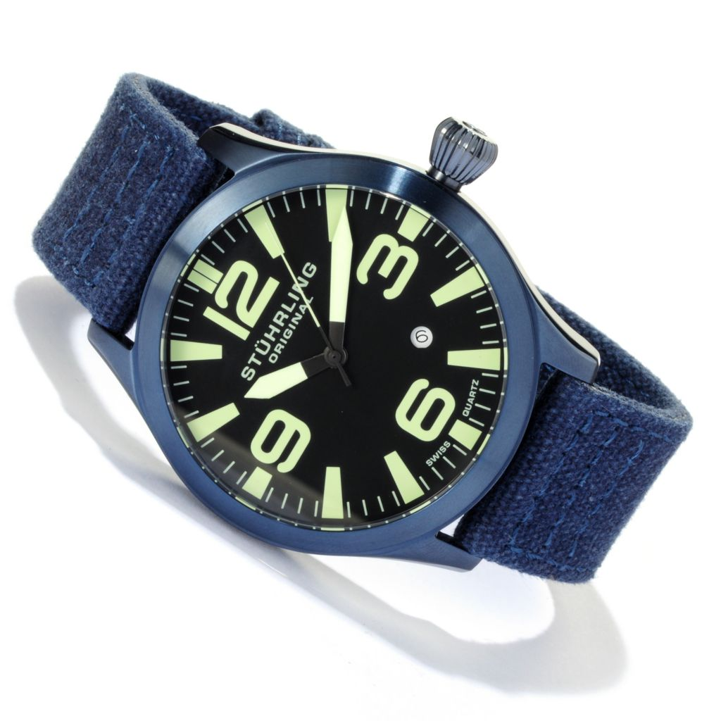 625-261 - Stührling Original 47mm Tuskegee Skylancer Quartz Stainless Steel Canvas Strap Watch