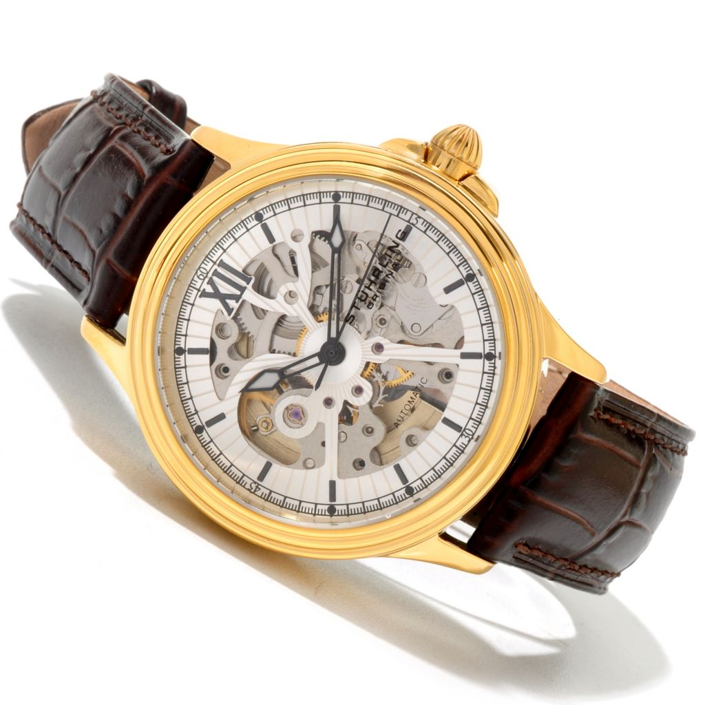 625-262 - Stührling Original Men's Delphi Priam Automatic Stainless Steel Leather Strap Watch