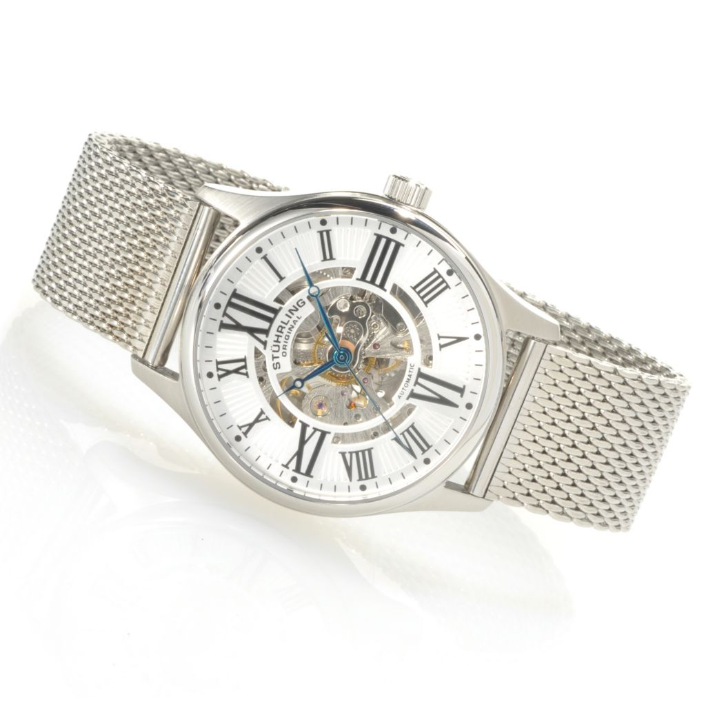 625-268 - Stührling Original Men's Atrium Elite Automatic Mesh Stainless Steel Bracelet Watch