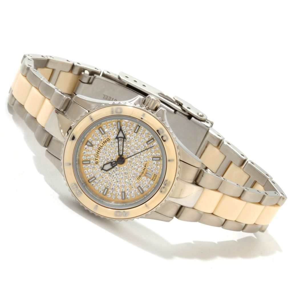 625-269 - Stührling Original Women's Astera Crystal Accented Quartz Stainless Steel Bracelet Watch