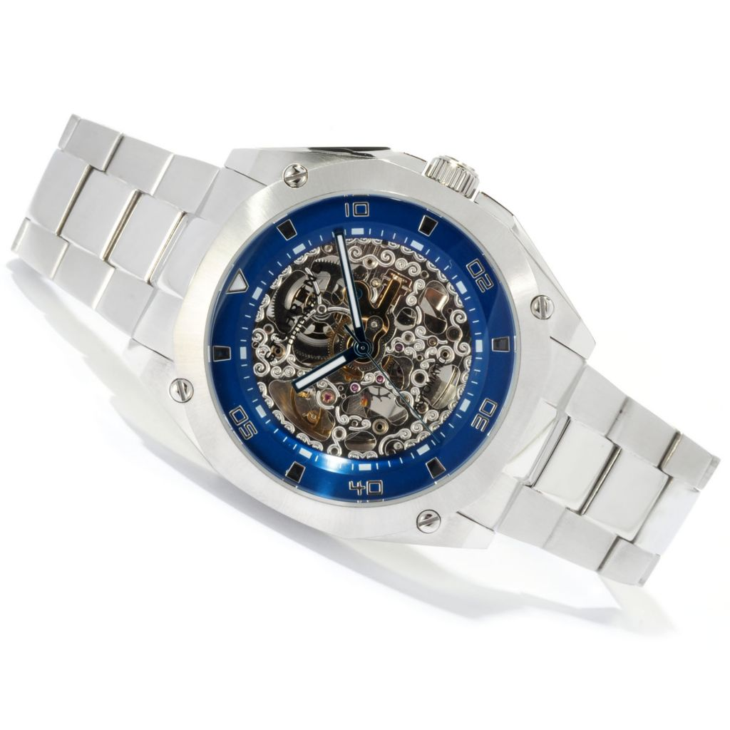 625-270 - Stührling Original 48mm Gallant Automatic Skeletonized Dial Stainless Steel Bracelet Watch