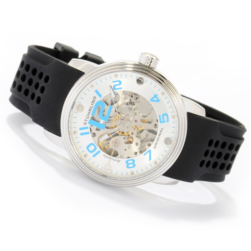 625-272 - Stührling Original Men's Delphi Adonis Automatic Stainless Steel Rubber Strap Watch