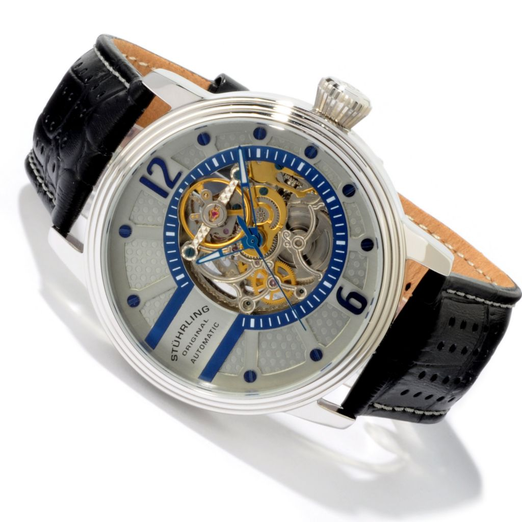 625-273 - Stührling Original Men's Prospero Skeleton Automatic Leather Strap Watch