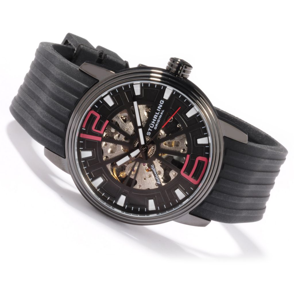 625-274 - Stührling Original 44mm Delphi Achilles Skeletonized Automatic Rubber Strap Watch