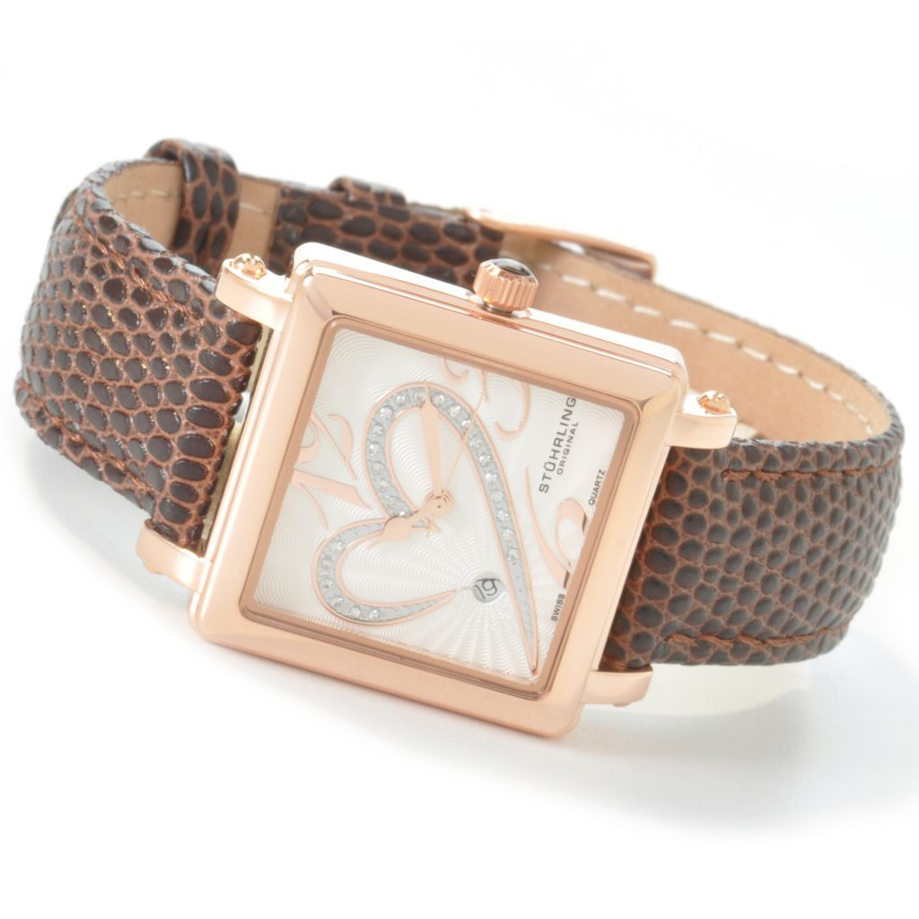 625-275 - Stührling Original Women's Courtly Diamond Swiss Quartz Leather Strap Watch