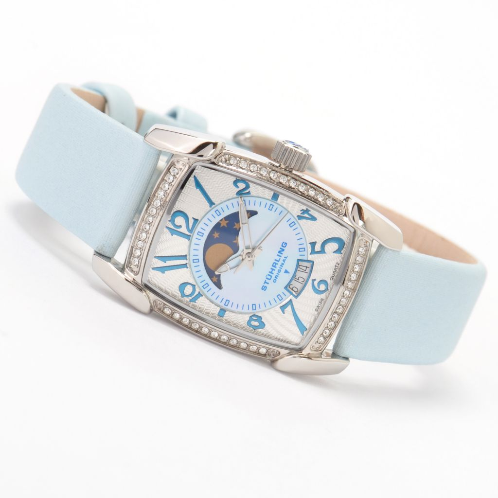 625-278 - Stührling Original Women's Carnegie Uptown Quartz Leather Strap Watch