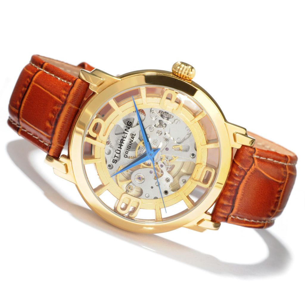 625-280 - Stührling Original 44mm Winchester Grand Mechanical Skeleton Automatic Leather Strap Watch