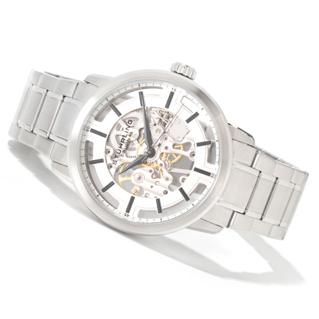 625-281 - Stührling Original Men's Winchester Pro Mechanical Stainless Steel Bracelet Watch