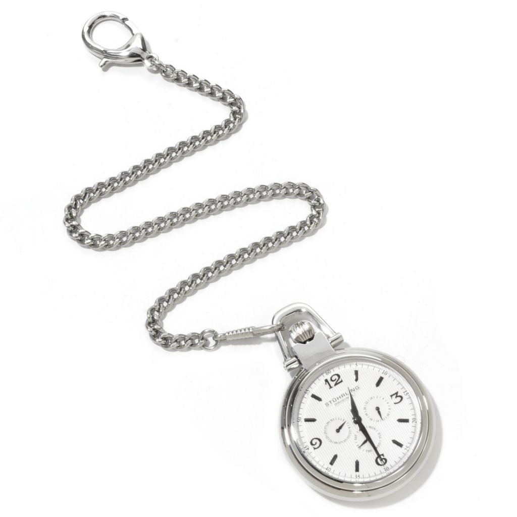 625-289 - Stührling Original Monarch Nouveau Quartz Stainless Steel Pocket Watch