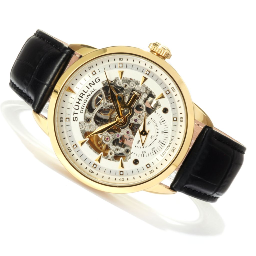 625-293 - Stührling Original Men's Executive Automatic Skeletonized Dial Leather Strap Watch