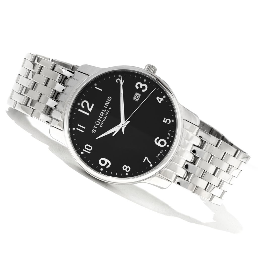 625-294 - Stührling Original Men's Churchill Quartz Stainless Steel Bracelet Watch